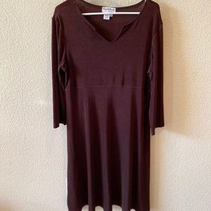 North Style Brown 3/4 Long Sleeve Dress